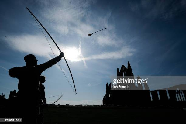 An archer practices his skills during the Viking Festival at Whitby Abbey on August 24 2019 in Whitby England Temperatures are expected to climb over...