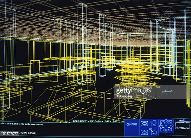 An architect's design displayed on a computer screen circa 1985