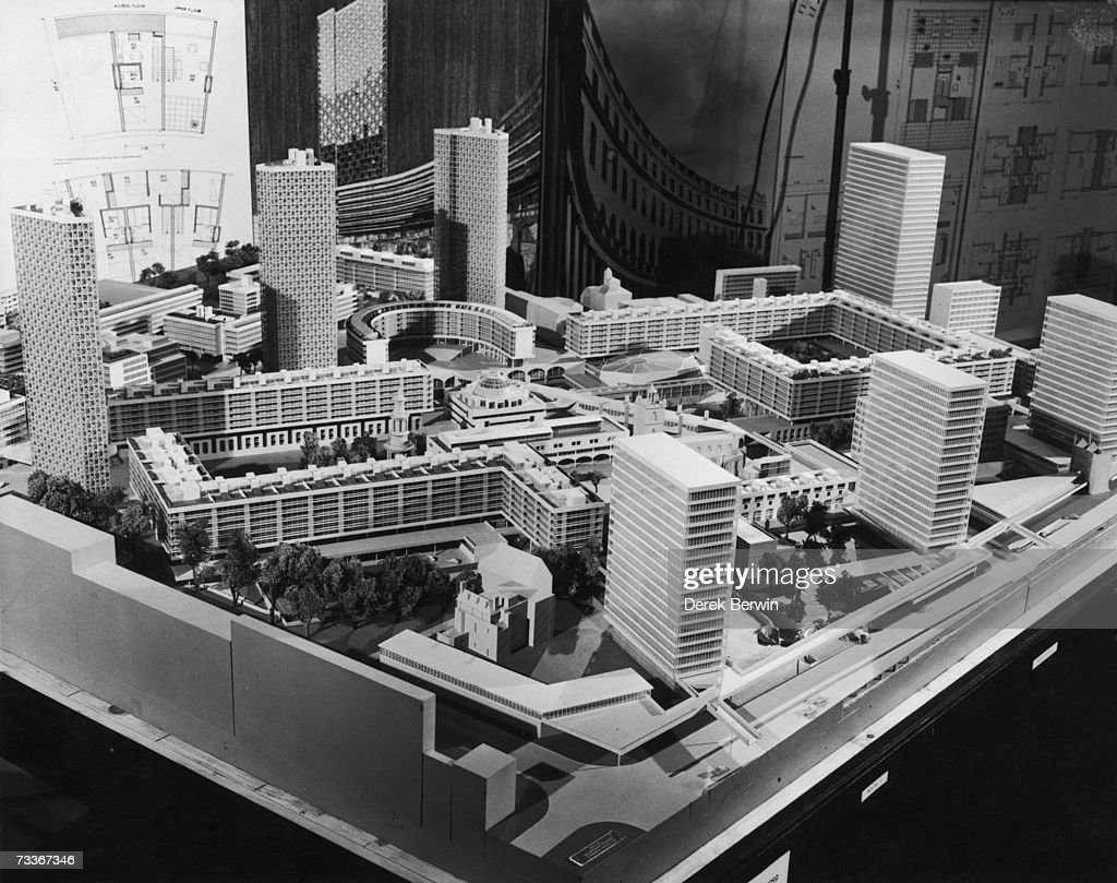 An architect's model of the proposed redevelopment of the Barbican area in the City of London, 20th May 1959. The model is by architects Chamberlin, Powell & Bon and is on show at a press conference at the Guildhall, London.