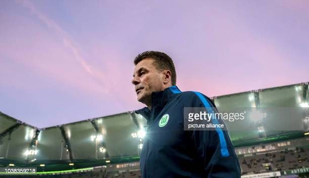 An archive image dated 20 September 2016 shows Wolfsburg's coach Dieter Hecking in the arena before the game between VfL Wolfsburg and Borussia...