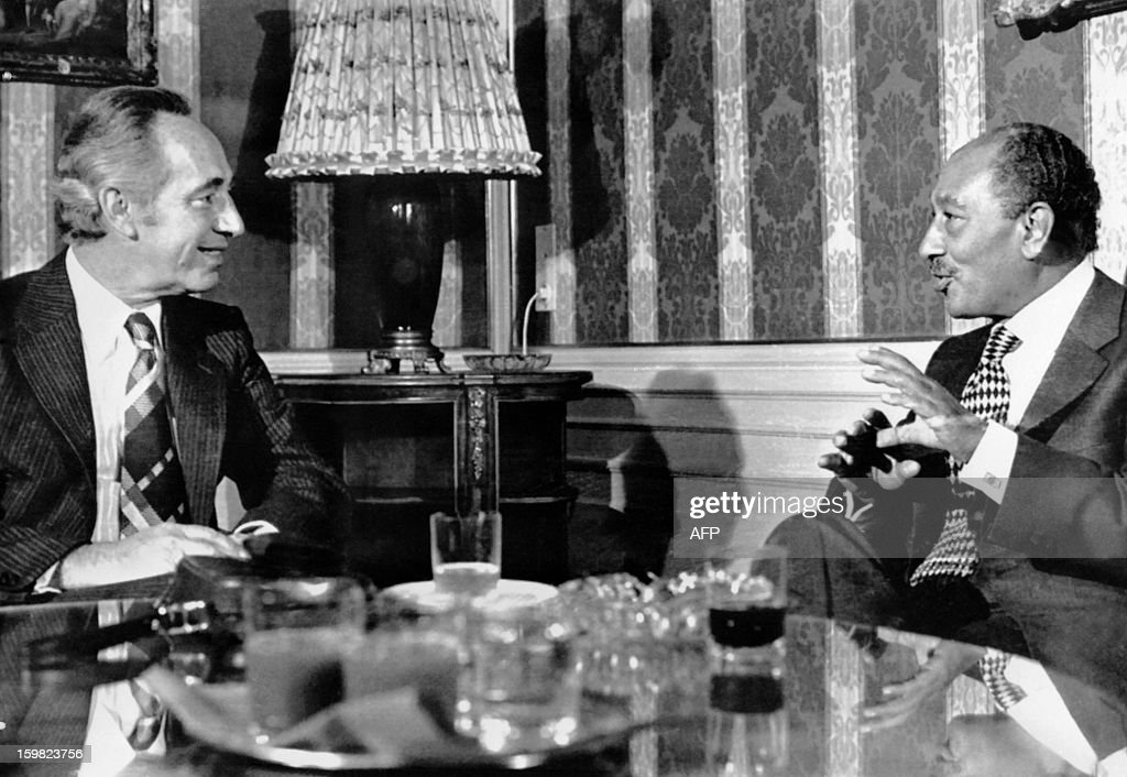 An archive photo taken on February 11, 1978 in Salzburg shows a meeting between President Anwar Sadat of Egypt (R) and Israeli opposition leader Shimon Peres.