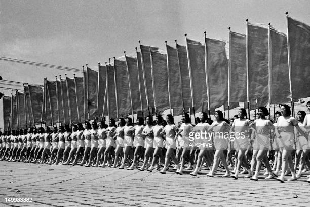 An archive photo taken on May 1, 1957 shows a parade to celebrate International Workers' Day on Tienanmen Square in beijing. In the People's Republic...