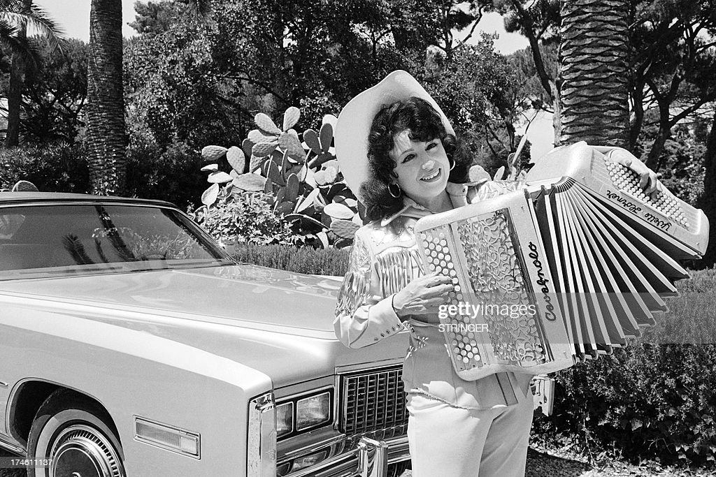 An archive portrait taken on August 2, 1977 shows French accordionist Yvette Horner in the French Riviera.
