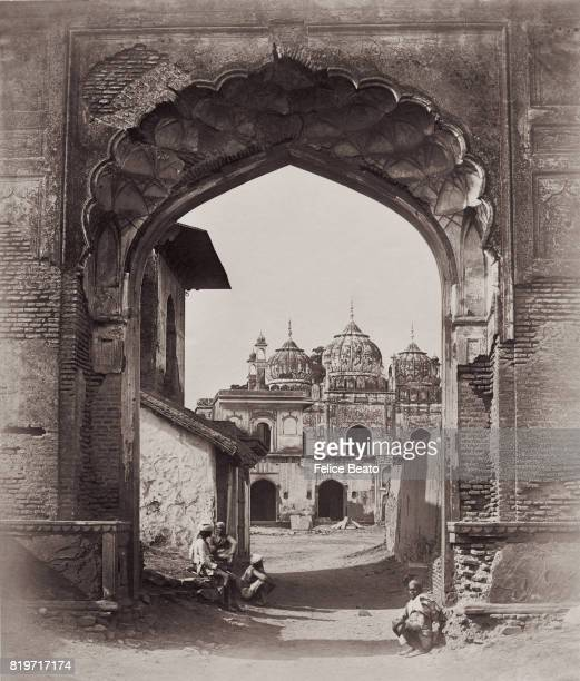 An archway over a street in Delhi India 1858 Vintage albumen print