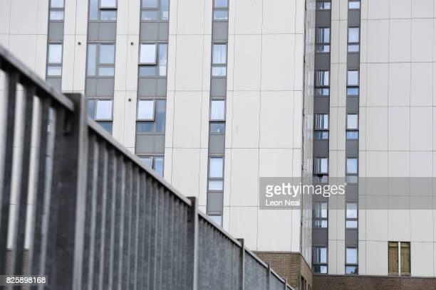 An area for a removed panel of cladding is seen on the Dorney Tower in the Chalcot estate on August 3 2017 in London England Despite ongoing concerns...