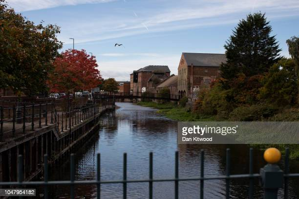 An area of derelict building stand besides a canal in the town centre on October 8 2018 in Grimsby England Grimsby was once home to the largest fleet...