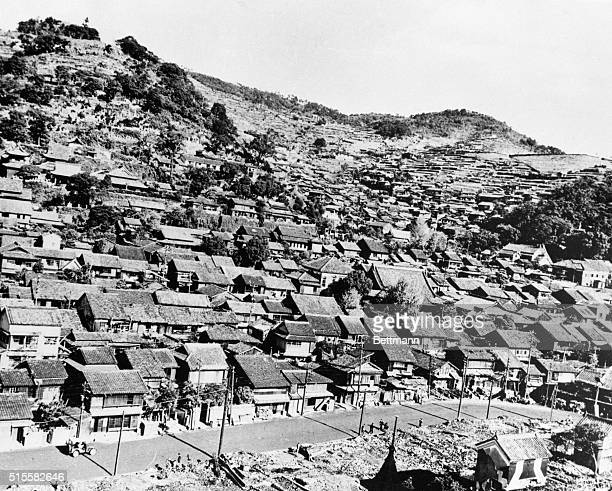 An area of Nagasaki was protected from the atomic bomb blast by the surrounding hills | Location Nagasaki Japan