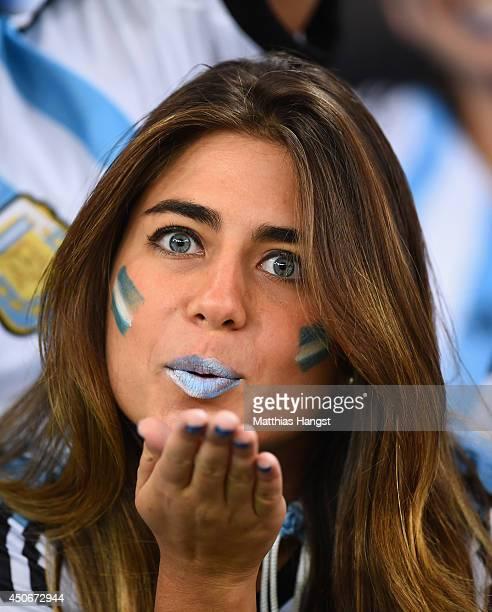 An Argentina fan blows a kiss during the 2014 FIFA World Cup Brazil Group F match between Argentina and BosniaHerzegovina at Maracana on June 15 2014...