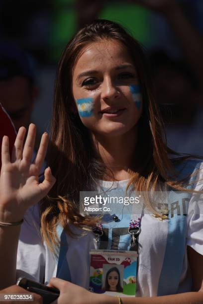 An Argentina fan during the 2018 FIFA World Cup Russia group D match between Argentina and Iceland at Spartak Stadium on June 16 2018 in Moscow Russia