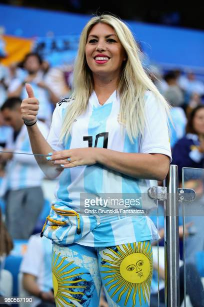 An Argentina fan enjoys the atmosphere in the ground before the 2018 FIFA World Cup Russia group D match between Argentina and Croatia at Nizhny...
