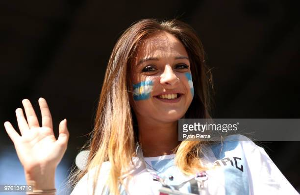 An Argentina fan enjoys the pre match atmosphere prior to the 2018 FIFA World Cup Russia group D match between Argentina and Iceland at Spartak...