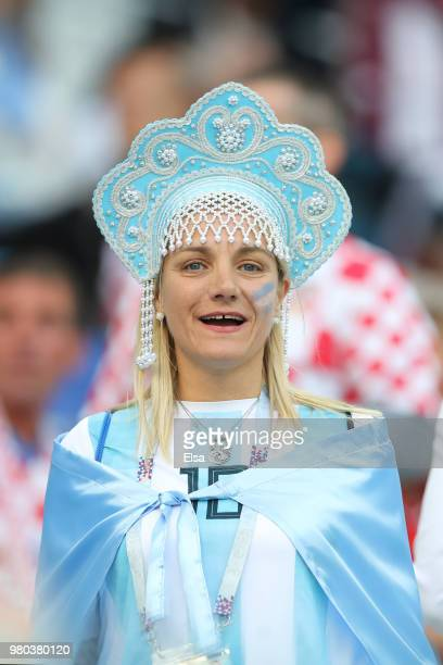 An Argentina fan enjoys the pre match atmosphere prior to the 2018 FIFA World Cup Russia group D match between Argentina and Croatia at Nizhny...