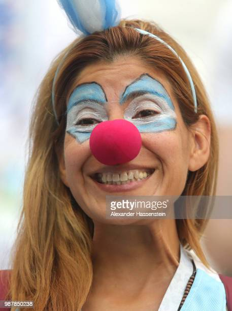 An Argentina fan enjoys the pre match atmosphere prior to the 2018 FIFA World Cup Russia Round of 16 match between France and Argentina at Kazan...