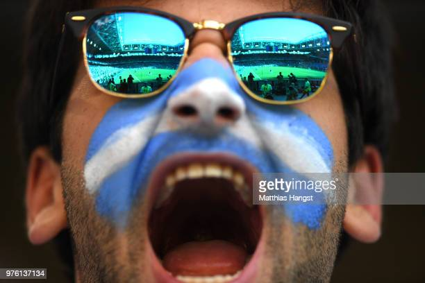 An Argentina fan enjoys the pre match atmosphere prior to to the 2018 FIFA World Cup Russia group D match between Argentina and Iceland at Spartak...