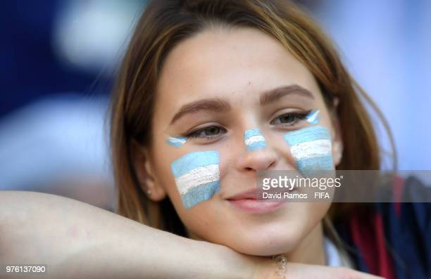 An Argentina fan looks on prior to the 2018 FIFA World Cup Russia group D match between Argentina and Iceland at Spartak Stadium on June 16 2018 in...