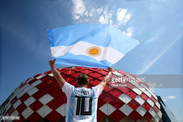 An Argentina fan poses outside the stadium prior to the 2018 FIFA World Cup Russia group D match between Argentina and Iceland at Spartak Stadium on...