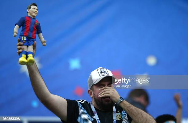 An Argentina fan reacts during the 2018 FIFA World Cup Russia group D match between Argentina and Croatia at Nizhniy Novgorod Stadium on June 21 2018...