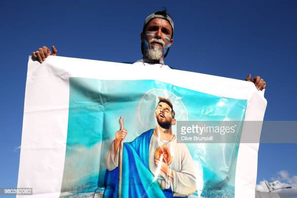 An Argentina fan shows their support for Lionel Messi of Argentina prior to the 2018 FIFA World Cup Russia group D match between Argentina and...