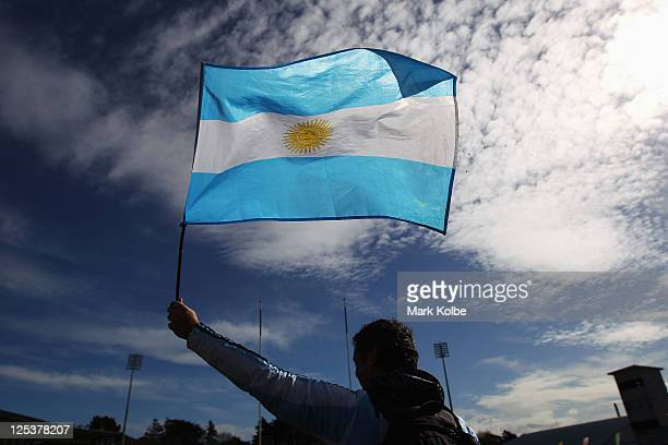 An Argentina fan waves his flag ahead of the IRB 2011 Rugby World Cup Pool B match between Argentina and Romania at Rugby Park Stadium on September...