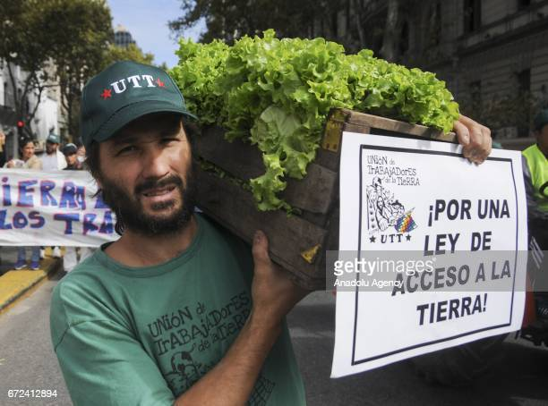 An Argentine farmer delivers free lettuces during a peasant protest against the high cost of living of small farmers and the demand for credit to buy...