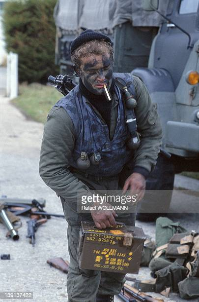 An Argentine soldier with a cigarette on April 2 1982 in Port Stanley Falklands Islands