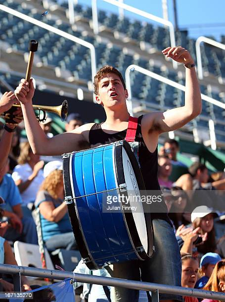 An Argentinian fan makes some noise during day two of the Fed Cup World Group Two PlayOffs between Argentina and Great Britain at Parque Roca on...