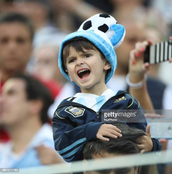 An argentinian fans during the 2018 FIFA World Cup Russia group D match between Nigeria and Argentina at Saint Petersburg Stadium on June 26 2018 in...