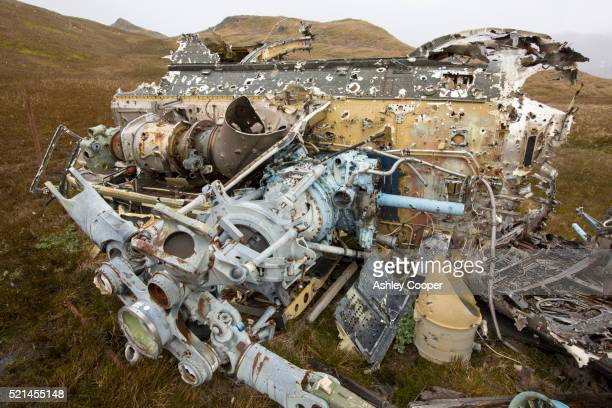 an argentinian puma helicopter that was shot down over south georgia by british troops - falklands war stock pictures, royalty-free photos & images