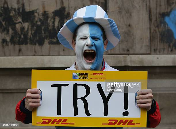 An Argentinian rugby fan poses for a photograph close to the Millennium Stadium where Ireland are playing Argentina in the quarter finals of the...