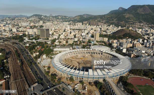 An arial view of construction work underway on the Maracana Stadium on July 27 2011 in Rio de Janeiro Brazil