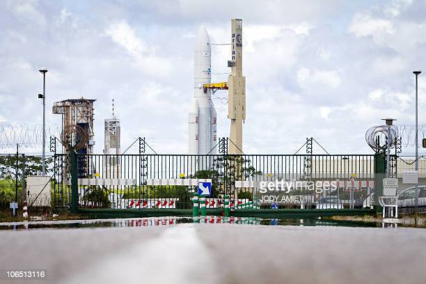 An Arian V rocket leaves its assembly site for the launch pad on October 27 2010 at the european space center of Kourou French Guiana on the eve of a...