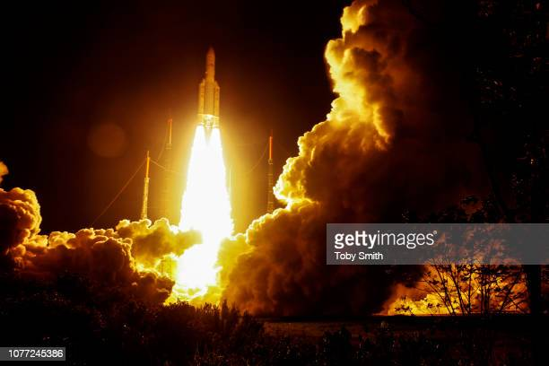 An Ariane 5 launcher lifted off from Europeâ'u20acs Spaceport in French Guiana on its mission to place two telecom satellites Astra5B and Amazonas4A...