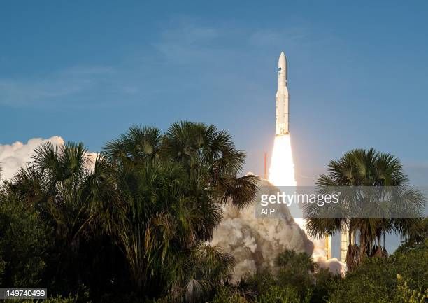 An Ariane5 rocket carrying two telecommunication satellites blasts off on August 2 2012 from the European space centre of Kourou French Guiana It...