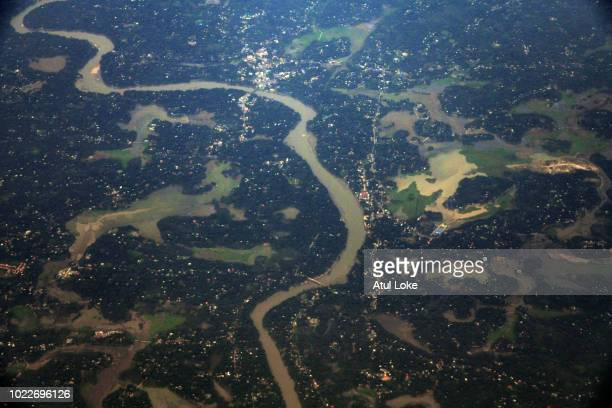 An ariel shot of Kerala from Thiruvanpuram on August 24, 2018 in Kerala, India. Over one million people have been displaced and forced to take...
