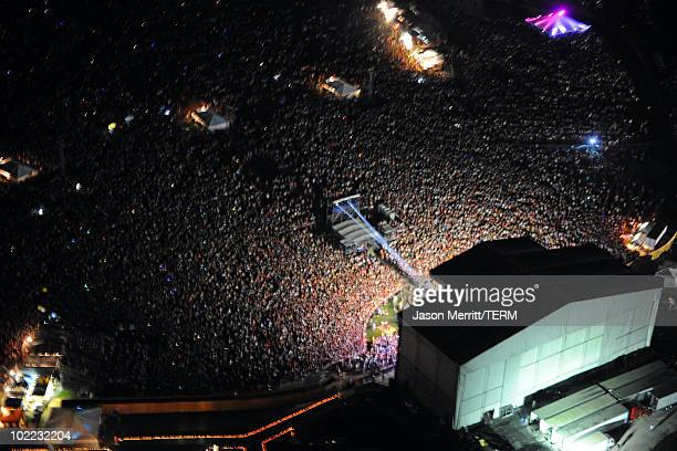 An ariel view during Bonnaroo 2010 at on June 12 2010 in Manchester Tennessee