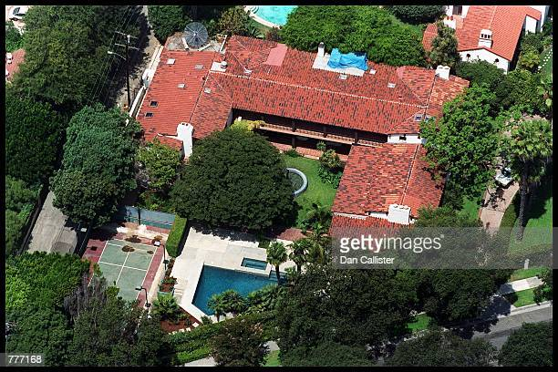 An ariel view of actress Angelina Jolie and Billy Bob Thornton's new home August 7 2000 in Beverly Hills CA
