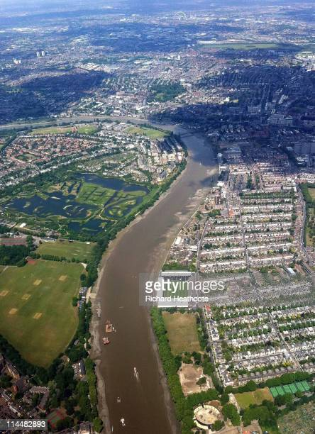 An ariel view of Craven Cottage football stadium, home of Barclays Premier League team Fulham FC, by the side of The River Thames on May 21, 2011 in...