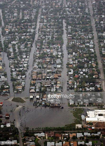An ariel view of Galveston is seen after Hurricane Ike made landfall September 13 2008 in Galveston Texas Ike caused extensive damage along the Texas...