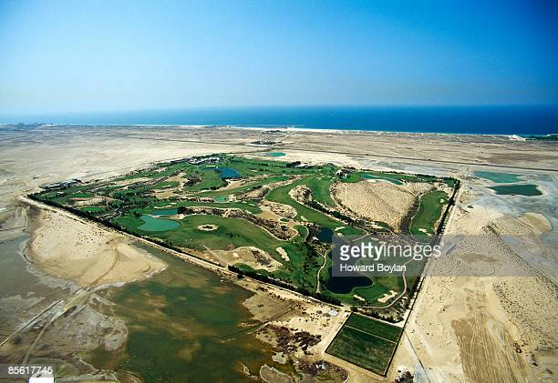 An ariel view of the Dubai Emirates Golf Club and Course during 1990 in Dubai United Arab Emirates