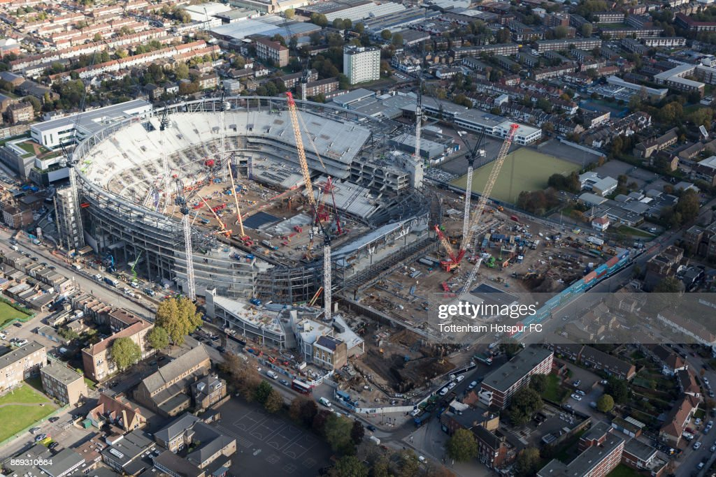 An Ariel view of Tottenham Hotspur's New Stadium as building work continues at White Hart Lane on August 15, 2017 in London, England.