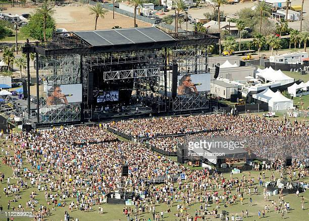 An ariel view of Wiz Khalifa performing during Day 3 of the Coachella Valley Music Arts Festival 2011 held at the Empire Polo Club on April 17 2011...