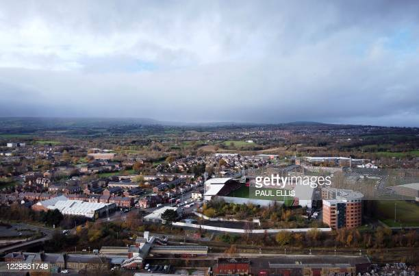 An ariel view shows The Racecourse Ground stadium, the home football ground of Wrexham FC, in Wrexham, north Wales on November 17, 2020. - Hollywood...