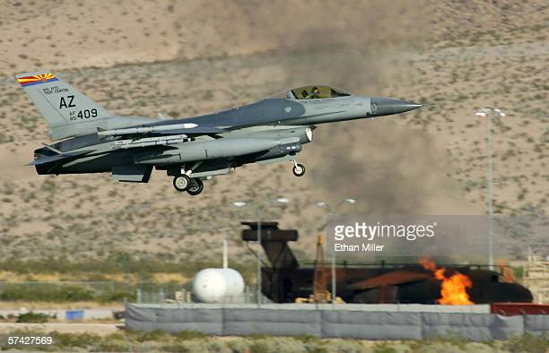 An Arizona Air National Guard F16C Fighting Falcon lands at Nellis Air Force Base while participating in the Joint Expeditionary Force Experiment...