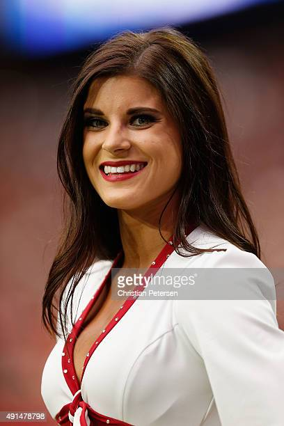 An Arizona Cardinals cheerleader performs during the NFL game against the San Francisco 49ers at the University of Phoenix Stadium on September 27...