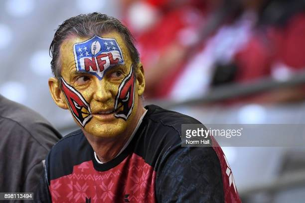 An Arizona Cardinals fan with a painted NFL logo on his face looks on prior to the game between the New York Giants and Arizona Cardinals in the...