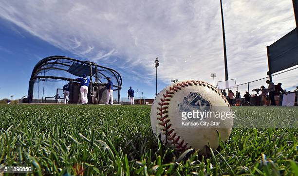 An Arizona spring training ball sits in the grass during the Kansas City Royals' spring training workout on Tuesday Feb 23 in Surprise Ariz