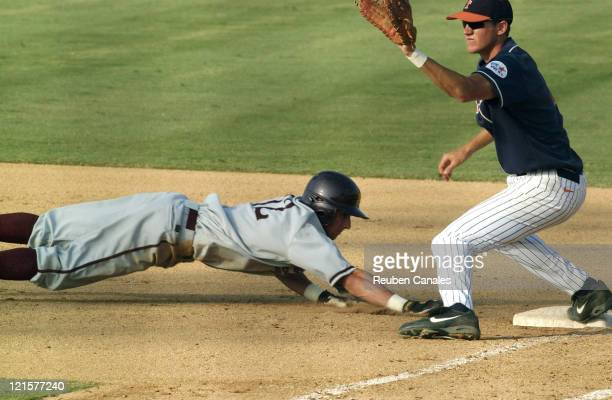 An Arizona State Sun Devils baserunner dives back to first base in a 9 to 8 victory in the NCAA Fullerton SuperRegional of the 4th ranked Cal State...