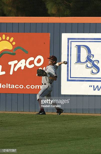 An Arizona State Sun Devils outfielder brings in a ball in a 9 to 8 victory in the NCAA Fullerton SuperRegional of the 4th ranked Cal State Fullerton...