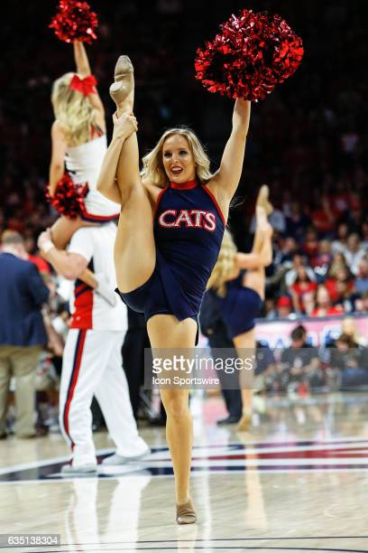 An Arizona Wildcats cheerleader during the college basketball game between the Cal Golden Bears and the Arizona Wildcats on February 11 2017 at...