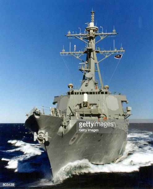 An Arleigh Burke class, Aegis guided missile destroyer USS Ramage cruises the sea. President Bush decided April 24, 2001 to offer the government of...